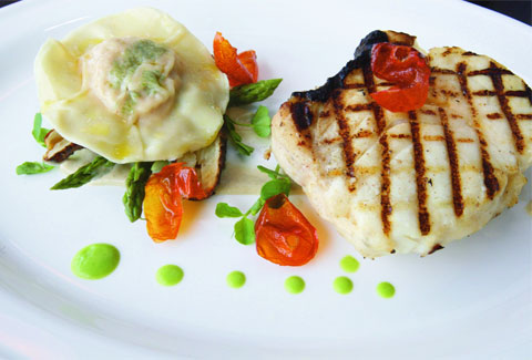Halibut with Jerusalem Artichokes and Scottish Salmon and Brown Shrimp Ravioli